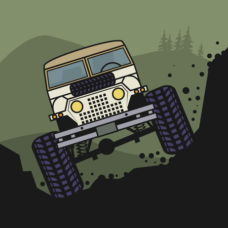 terrain: Off-road vehicle, vector illustration