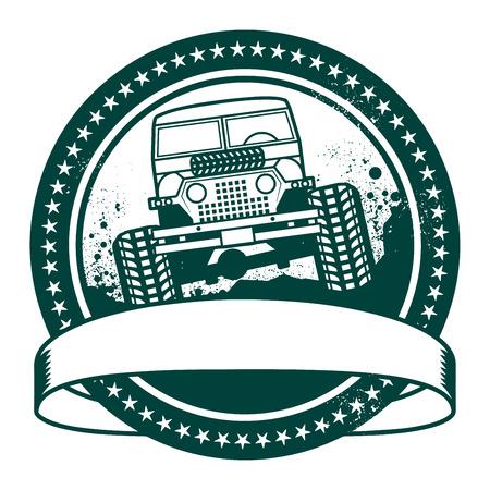 4wd: Grunge rubber stamp or label, off road adventure, vector illustration