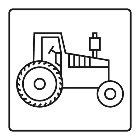 horticulturist: Tractor icon or sign, vector illustration