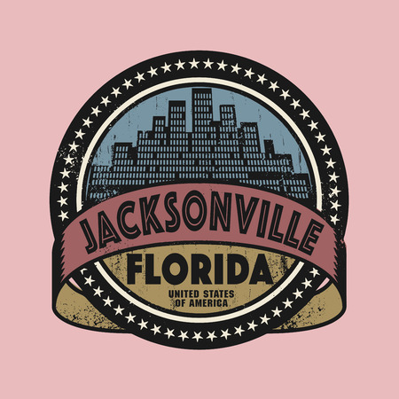 jacksonville: Grunge rubber stamp or label with name of Jacksonville, Florida, vector illustration Illustration