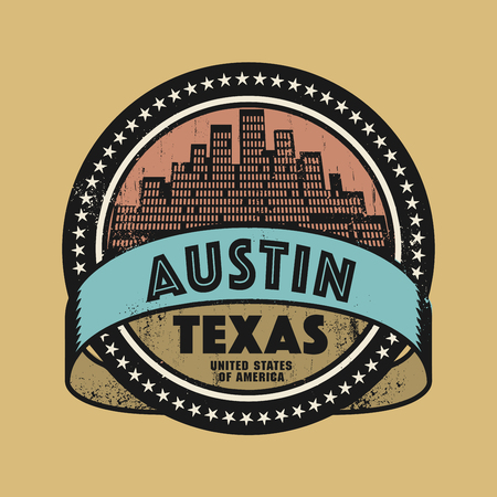 austin: Grunge rubber stamp or label with name of Austin, Texas, vector illustration Illustration