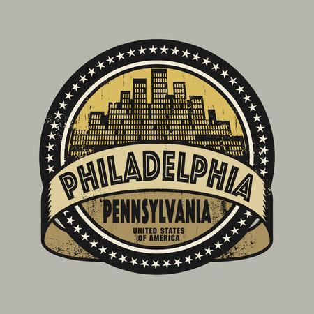 philadelphia: Grunge rubber stamp or label with name of Philadelphia, Pennsylvania, vector illustration