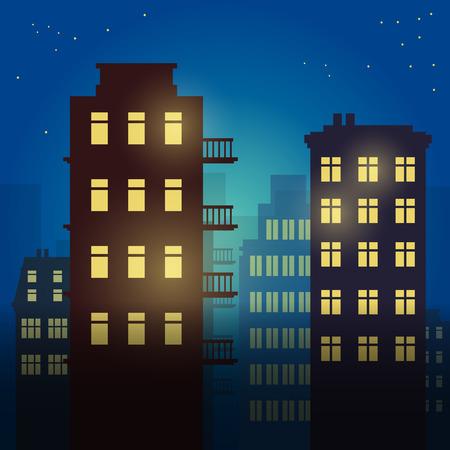 paisajes noche pareja: Ciudad en la noche, ilustración vectorial Vectores