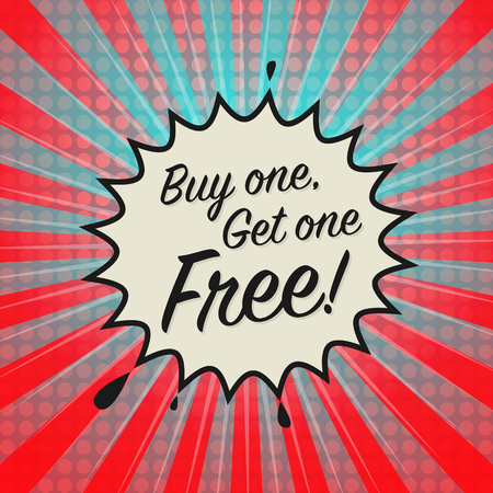 Comic explosion with text Buy One, Get One Free, vector illustration Vettoriali