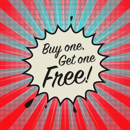 orden de compra: explosión cómica con el texto Compre uno y llévese otro gratis ilustración, vector