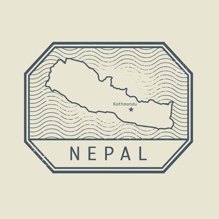 Stamp with the name and map of Nepal, vector illustration