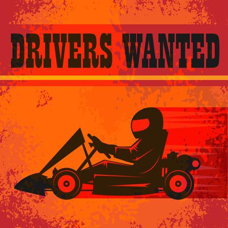 karting: Karting Go Cart race poster, vector illustration Illustration