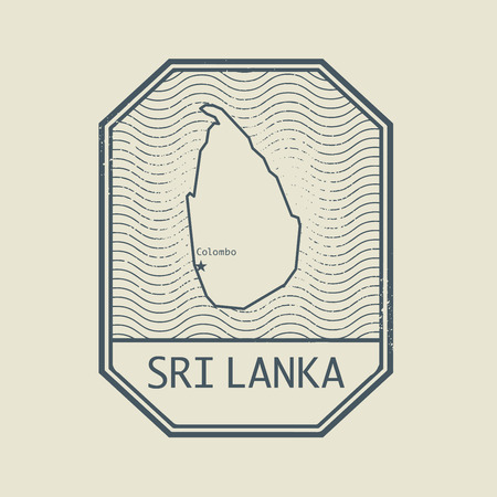 sri: Stamp with the name and map of Sri Lanka, vector illustration