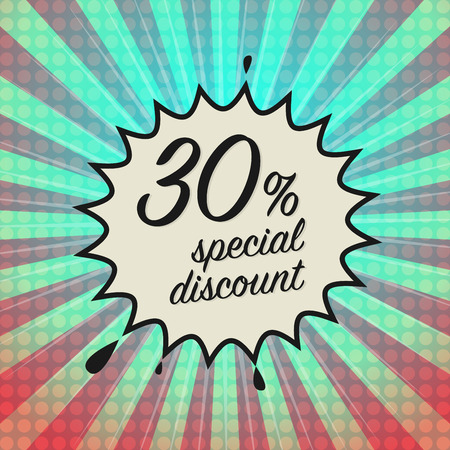 promotional offer: Comic explosion with text Special Discount, vector illustration Illustration