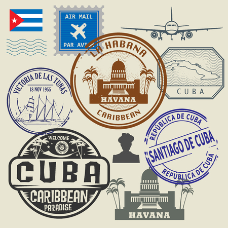 Travel stamps set, vector illustration Reklamní fotografie - 46001335