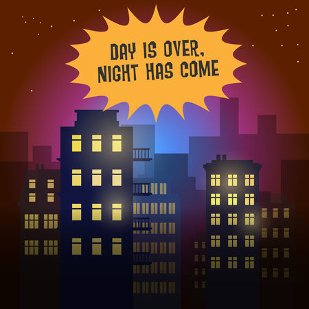comic background: City at night, vector illustration