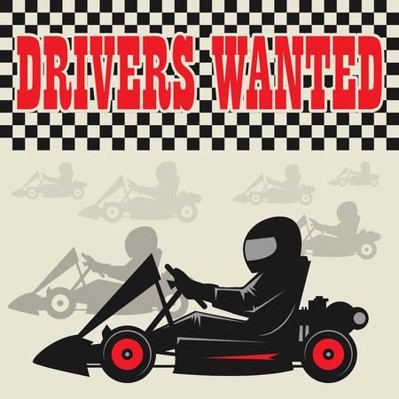 go: Karting Go Cart race poster, vector illustration Illustration