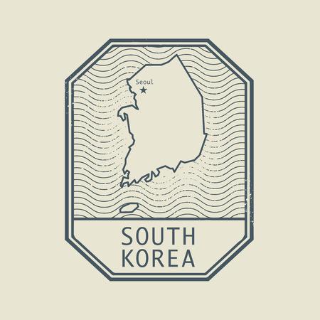 sello: Sello con el nombre y el mapa de Corea del Sur, ilustración vectorial