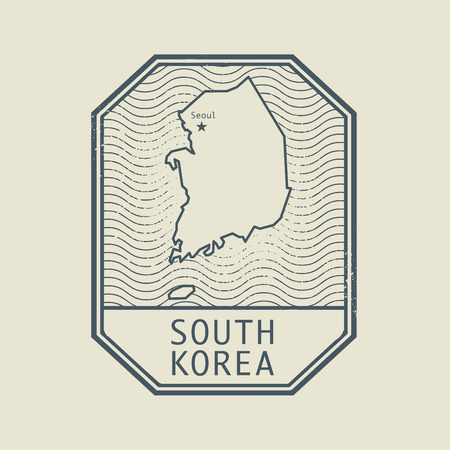 stamp: Stamp with the name and map of South Korea, vector illustration Illustration