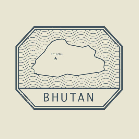 identifier: Stamp with the name and map of Bhutan, vector illustration Illustration