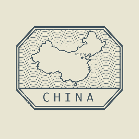 identifier: Stamp with the name and map of China, vector illustration