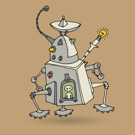 droid: Cute robot doodle drawing, vector illustration