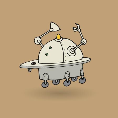 cute robot: Cute robot doodle drawing, vector illustration