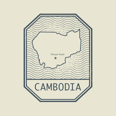 cambodia: Stamp with the name and map of Cambodia, vector illustration
