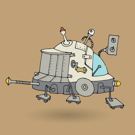 Cute robot doodle drawing, vector illustration