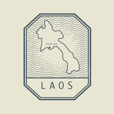 identifier: Stamp with the name and map of Laos, vector illustration