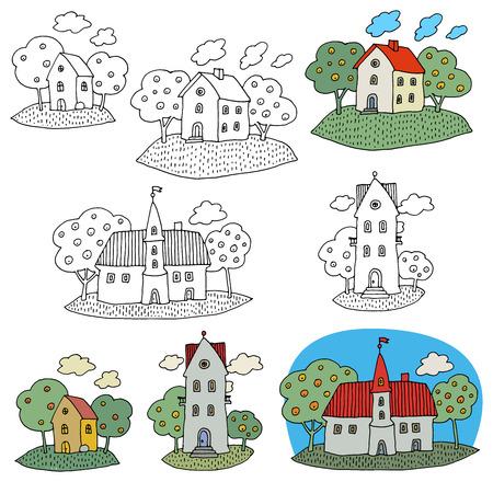 Cartoon hand drawing houses Ilustração