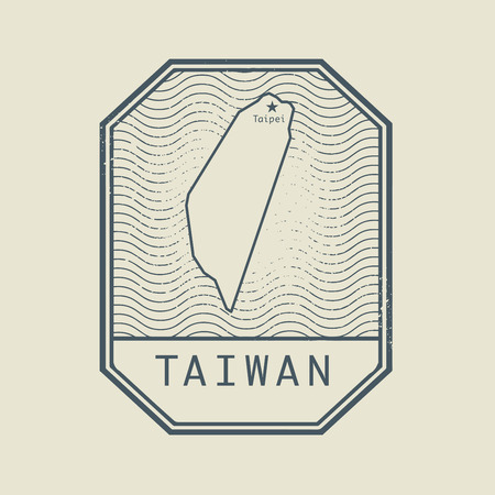identifier: Stamp with the name and map of Taiwan, vector illustration