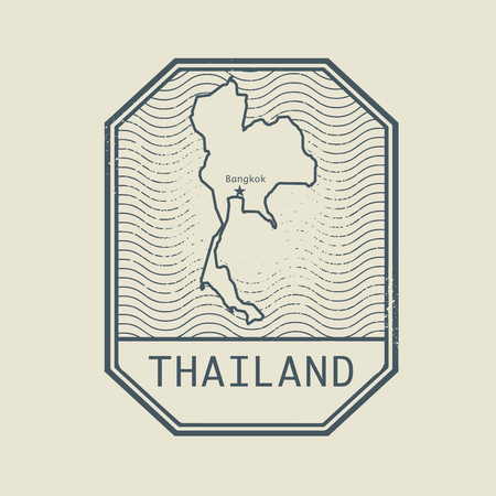 thailand: Stamp with the name and map of Thailand, vector illustration Illustration