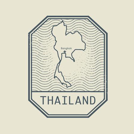 passeport: Timbre avec le nom et la carte de la Tha�lande, illustration vectorielle