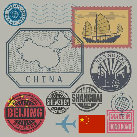 sellos: Sellos del recorrido fijados con el texto Chine, Shanghai, Beijing (en el idioma chino también), ilustración vectorial