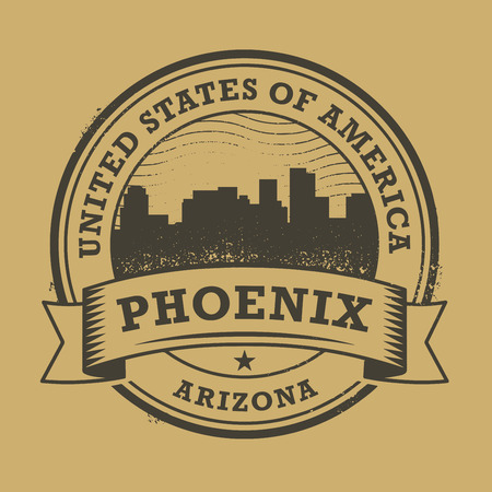 phoenix arizona: Grunge rubber stamp or label with name of Phoenix, Arizona, vector illustration