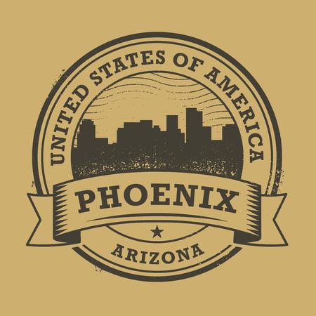 phoenix: Grunge sello de goma o una etiqueta con el nombre de Phoenix, Arizona, ilustración vectorial