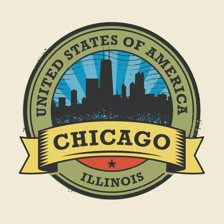 chicago skyline: Grunge rubber stamp or label with name of Illinois, Chicago, vector illustration Illustration