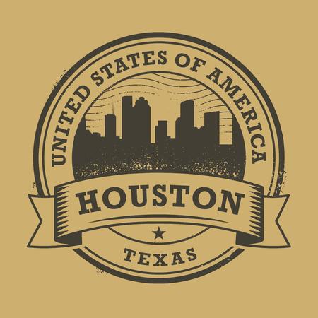 Grunge rubber stempel of label met de naam van Texas, Houston, vector illustratie