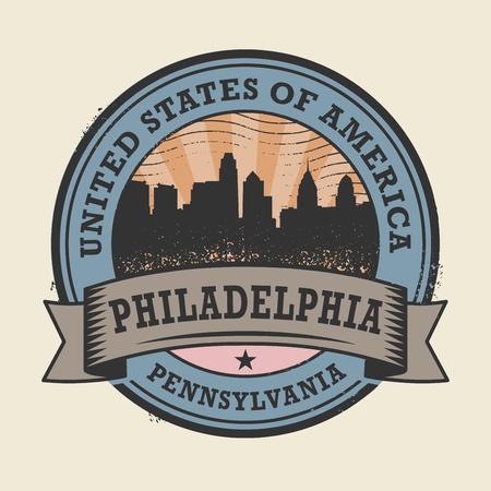 philadelphia: Grunge rubber stamp or label with name of Pennsylvania, Philadelphia, vector illustration Illustration