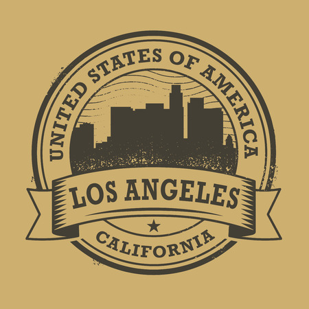 angeles: Grunge rubber stamp or label with name of California, Los Angeles, vector illustration Illustration