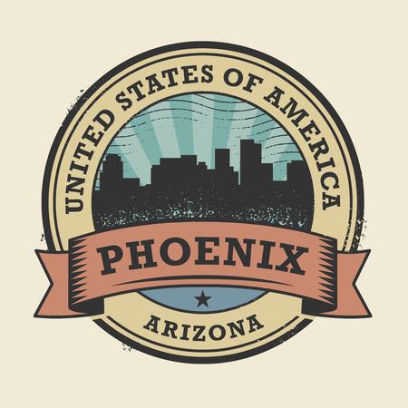 ave fenix: Grunge sello de goma o una etiqueta con el nombre de Phoenix, Arizona, ilustraci�n vectorial