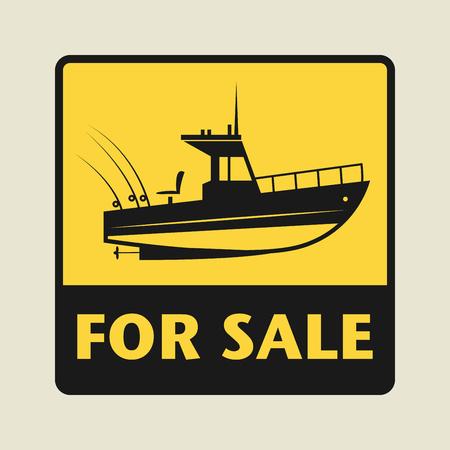barche: Vendita icona o segno, illustrazione vettoriale