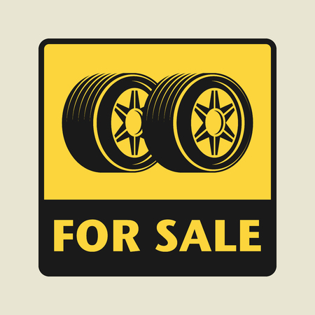 low tire: For Sale icon or sign, vector illustration