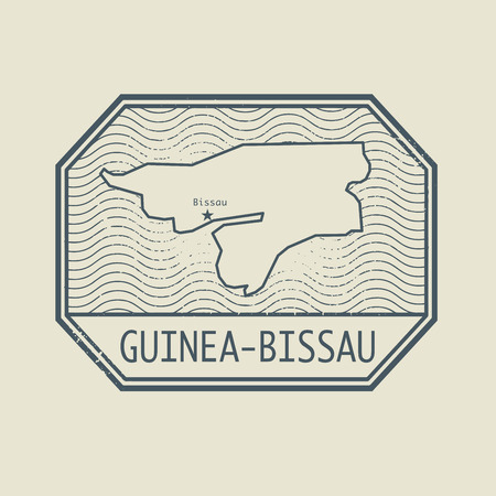 guinea bissau: Stamp with the name and map of Guinea - Bissau, vector illustration Illustration