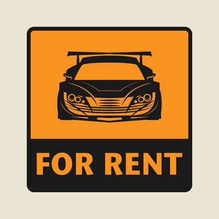 car for sale: For Rent icon or sign, vector illustration
