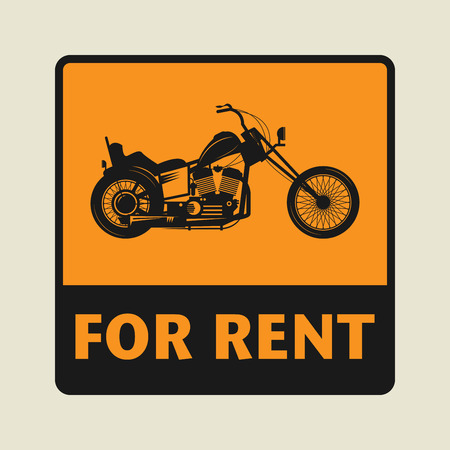 motocycle: For Rent icon or sign, vector illustration