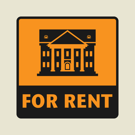 public library: For Rent icon or sign, vector illustration