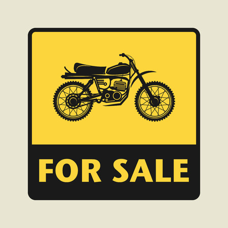 motocycle: For Sale icon or sign, vector illustration