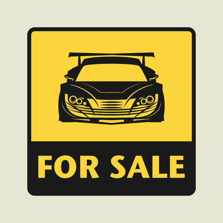 car for sale: For Sale icon or sign, vector illustration
