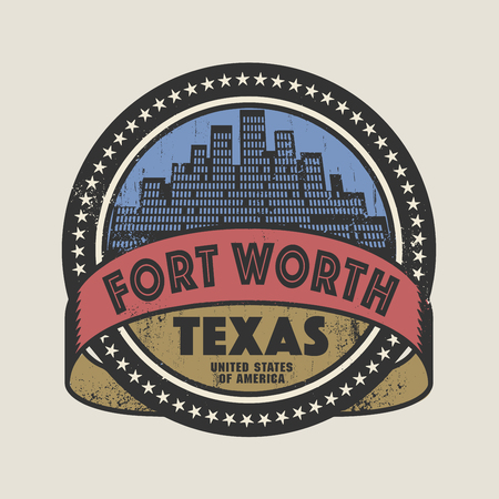 fort: Grunge rubber stamp or label with name of Fort Worth, Texas, vector illustration Illustration