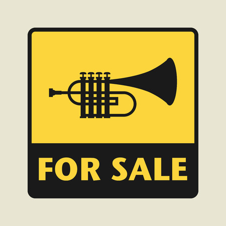 clarinet player: For Sale icon or sign, vector illustration