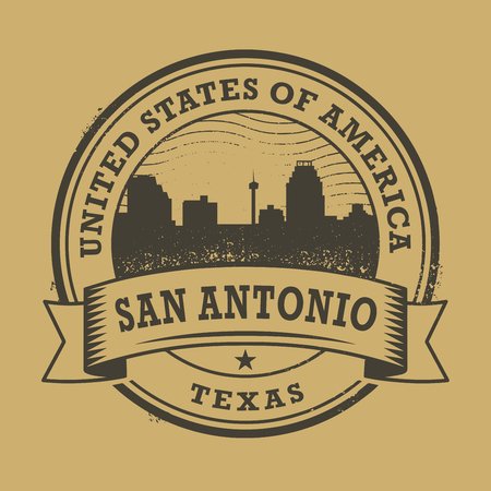 antonio: Grunge rubber stamp or label with name of Texas, San Antonio, vector illustration