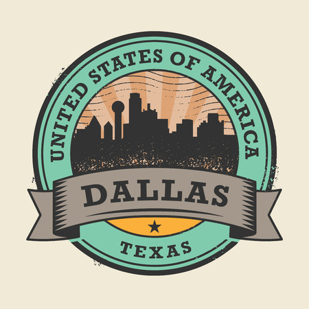 rubber stamp: Grunge rubber stamp or label with name of Texas, Dallas, vector illustration