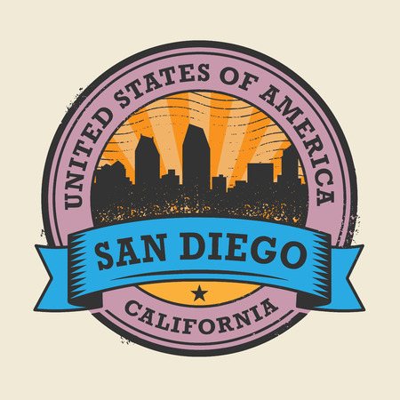 san diego: Grunge rubber stamp or label with name of California, San Diego, vector illustration